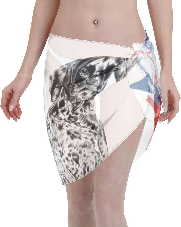 The German Shorthaired Pointer Women Short Sarongs Beach Wrap Swimwear Cover Ups Sheer Short Skirt Bikini Chiffon Scarf Black