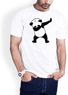 Casual Printed T-Shirt for Men, Panda Bear, White