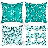 Alishomtll Juego de 4 fundas de cojín decorativas para exteriores, funda de cojín decorativa, para sofá o habitación, 40 x 40 cm, color azul hielo