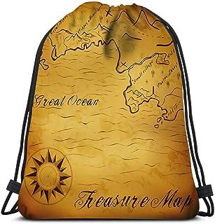 Mochila con cordón con diseño de mapa del tesoro antiguo con elementos contiene malla de degradado para viajes, gimnasio, mochila y bolsas de hombro
