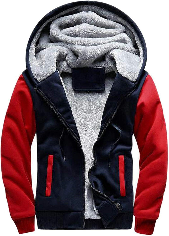 Sweatwater Men's Winter Zipper Up Fleece Lined Contrast colors Hoodies Plus Size Coat Sweatshirts