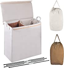 MCleanPin Double Laundry Hamper with Lid and Removable Laundry Liners,2 Section Laundry Hamper,Divided Laundry Sorter with...