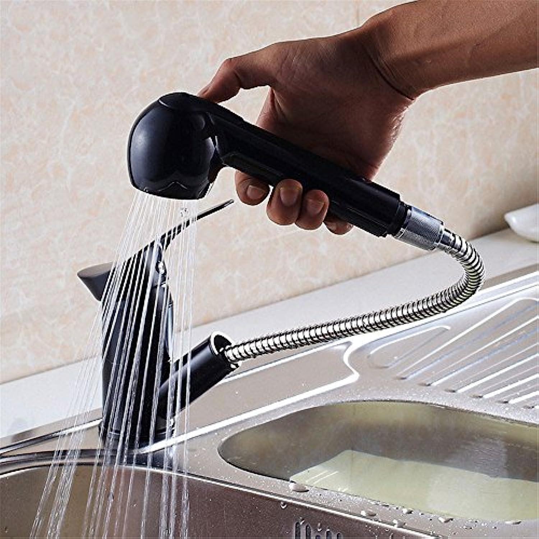Wasserhahn küche mit herausziehbarer Dual-Spülbrause,Kaltes und Heies Wasser Vorhanden Messing verchromt Robinet à tirer en peinture schwarze, robinet pour plats chauds et froids dans la cuisine