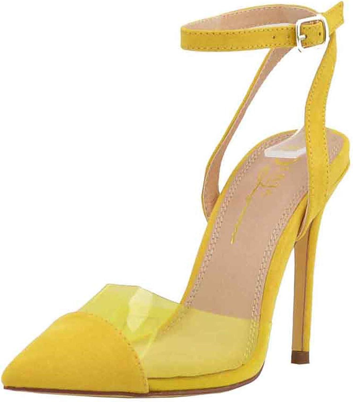 Olivia och Jaymes Woherrar Point Toe Genomskinlig klar PVC PVC PVC Criscrosss Ankle Strap Stiletto Heel Pump skor  stor rabatt