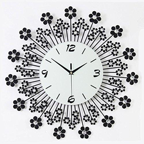 Relojes de pared Reloj de pared de reloj de hierro de diamantes reloj de pared electrónico decorativo, reloj de pared de metal de hoja decorativos, perfecto para el regalo de inauguración de la casa