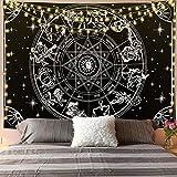 QAWD Tapiz Blanco y Negro Tapiz psicodélico Colgante de Pared Dormitorio decoración brujería Kawaii Tapiz Tela de Fondo A4 130x150cm