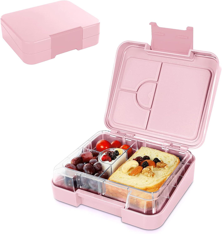 SPRIME Fiambrera hermética para Comida fiambrera infantil Bento Box Jardín de infancia con 4 compartimentos Fiambreras Lunch Box sin BPA apta para microondas, lavavajillas (Mini rosa)