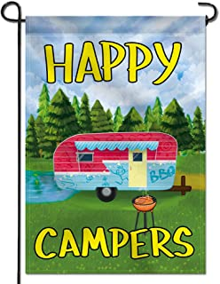 Anley Garden Flag Happy Campers - Decorative Summer Vacation Garden Flags - Double Sided & Weather Resistant & Double Stitched - 18 X 12.5 Inches