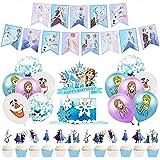 """Babioms 26Pcs Globos Congelados, Cupcake Topper, Themed Decoraciones de Fiesta Globo de Látex Party Supplies Pancarta de """"HAPPY BIRTHDAY"""" Suministros"""