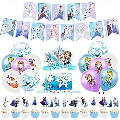 Babioms 26Pcs Palloncini Congelati, Happy Birthday Banner, Toppers per Torta, Palloncini in Lattice, Decorazioni di Compleanno Congelate