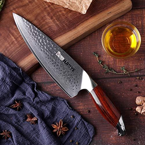 Faca Profissional Haoye Leopardo Aço Damasco 8p Chef Luxo