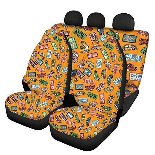 COEQINE Juego completo de 3 fundas para asiento de coche para coche, diseño de cubo, ajuste universal para coches, sedán, furgoneta, camiones, naranja