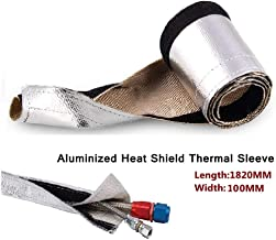 Sporacingrts Metallic Heat Shield Thermal Sleeve Insulated Wire Hose Cover L:1820MM W:100MM