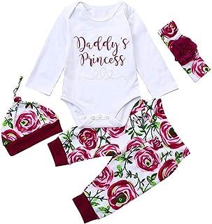 Ropa Bebe Nina Recien Nacido Otoño Invierno Infantil Body Bebe Niña Manga Larga Camisetas Bebé Mono Mameluco Tops + Pantalones + Sombrero y Diadema Conjuntos de Ropa
