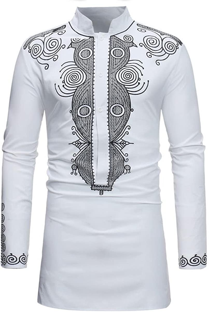 Luxfan Mens African Clothing Tribal Dashiki Traditional Maxi Stand ...