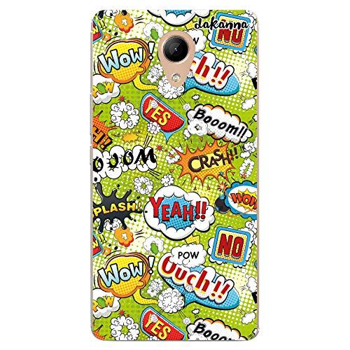 dakanna Funda Compatible con [Wiko Robby] de Silicona Flexible, Dibujo Diseño [Frases Comic Style Wow], Color [Borde Transparente] Carcasa Case Cover de Gel TPU para Smartphone