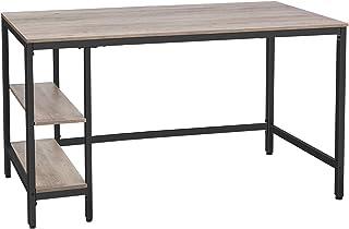 HOOBRO Bureau, Table Informatique, 140 x 60 x 76 cm, Table d'étude avec 2 Étagères, Style Industriel, pour PC, pour Maison...
