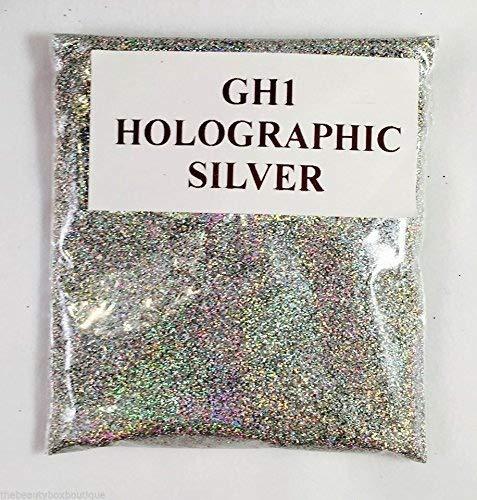 (GH1 - HOLOGRAPHIC SILVER 50g) GLITTER NAIL ART COSMETIC CRAFT FLORIST WINE GLASS GLITTER TATTOO