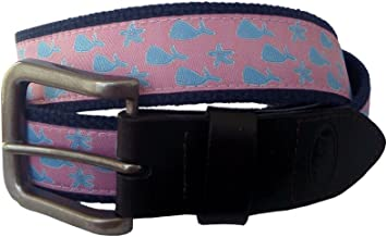 No27 Men's Whales and Starfish Nautical Leather Belt, Whales and Starfish Ribbon on Navy