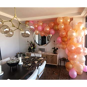 Balloon Arch /& Garland Kit 100 Rose Gold /& Blush Pink /& White Latex Balloons Rose Gold Confetti Balloons and Balloon Arch /& Garland Strip Tool for Wedding Graduation Party Decorations Home Kitty Baby Shower