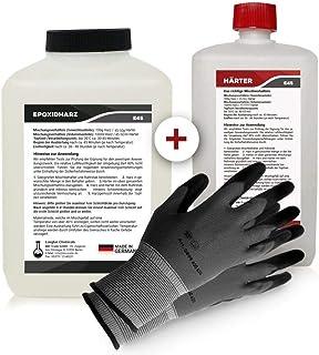 Longfair Chemicals - Resina Epoxi con Endurecedor + Guantes de Protección, Transparente, 2.25 kg, incluyendo instrucciones en español