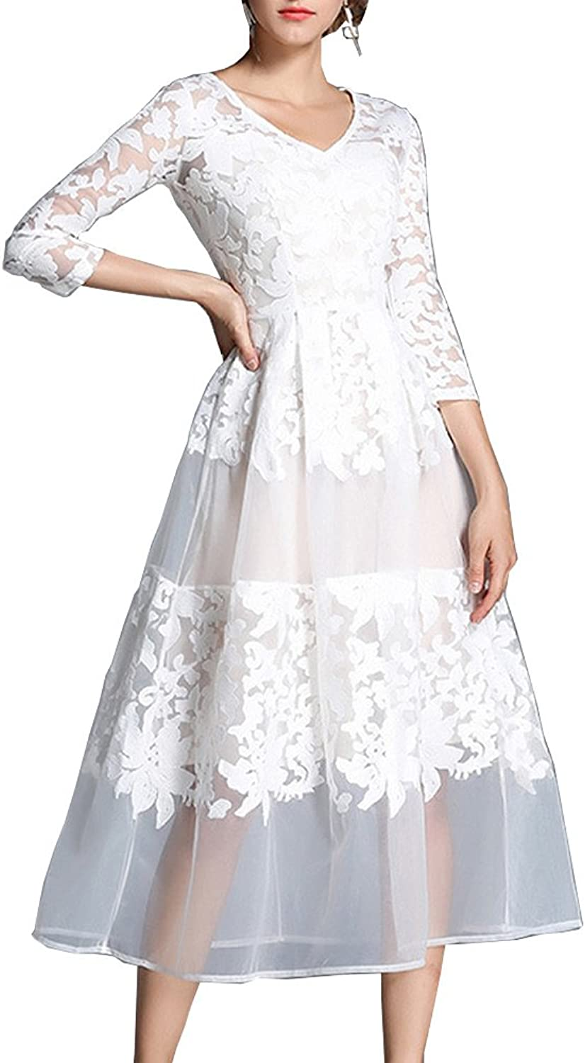 Dissa YL98609 Women Solid 3 4 Sleeve Midi Lace Hollow ALine Evening Party Dress