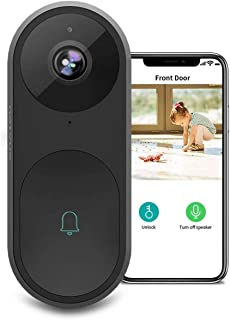 Doorbell Camera - 1080p AI Video Doorbell with Facial Recognition, Voice Interaction, Night Vision, Doorbell Camera Wi-Fi with Motion Detector, Two-Way Audio, Wireless Doorbell Compatible with Alexa