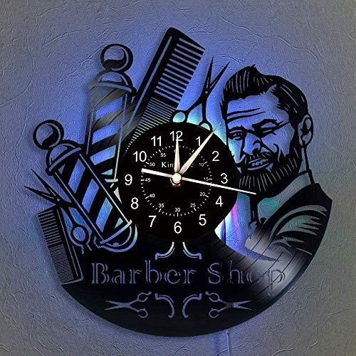 YHMJ Wall Clock 12-Zoll-Barbershop Vinyl Schallplatte Wanduhr, Retro handgefertigte Quarz Silent Uhren für Wohnzimmer Schlafzimmer Home Decor, Friseur und Freunde, Barbershop2 mit LED