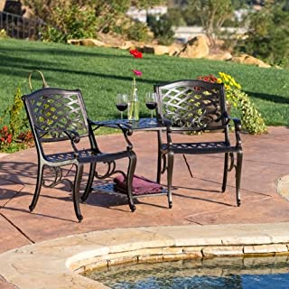 Christopher Knight Home 239086 Prague Outdoor Cast Aluminum 2-Seater Set, Grey