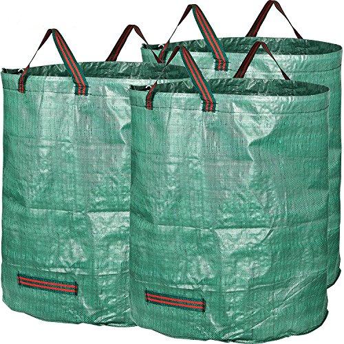 Lot de 3 sacs à déchets de jardin - 272 litres - Imperméable - Réutilisable - Grand sac à déchets - 3