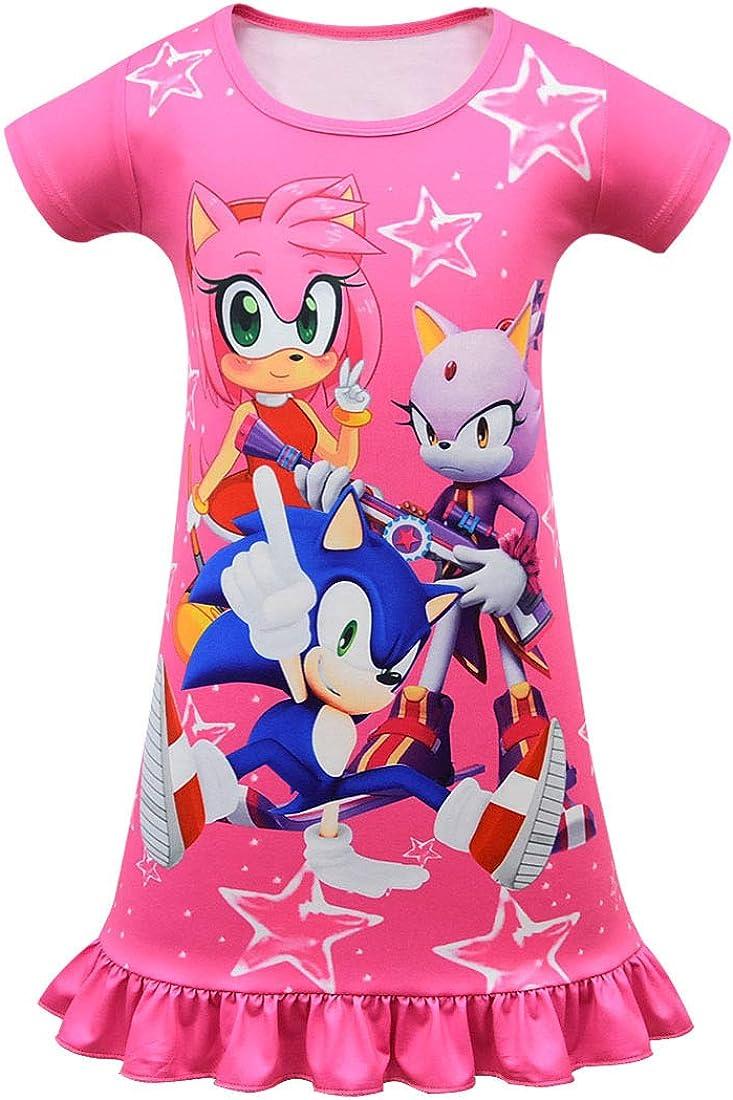 Girls Nightgown Cartoon So-nic The Hedge-hog Pajamas Princess Casual Dress Kid Sundress Summer
