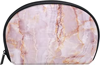 ALAZA Pink Marble Half Moon Cosmetic Makeup Toiletry Bag Pouch Travel Handy Purse Organizer Bag for Women Girls
