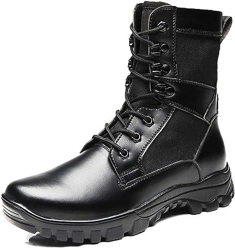 NDHSH Pour des hommes Bottes de Combat Bottes Hautes Chaussures de randonnée Chaussures à Lacets Bottes de sécurité Cadet Chaussures de Plein air Sport Rangers Chaussures de Sport