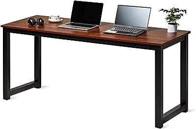 USHOW Computer Desk 63 inch Modern Sturdy Office Desk Study Writing Desk for Home Office (63 inch, Sandalwood)