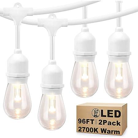 SUNTHIN 2-Pack 48ft LED Outdoor String Lights Hanging light 18 x 0.9 Watt S14 Edison Bulbs 18 x 0.9 Wat Patio Lights With White Cord Waterproof wedding String lighting 3 Spares 15 x E26 Sockets