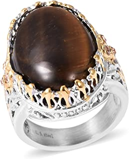 Stainless Steel Dual Tone Plated Cocktail Ring Tigers Eye Champagne Color Crystal Jewelry for Women (6/7/8/9/10)