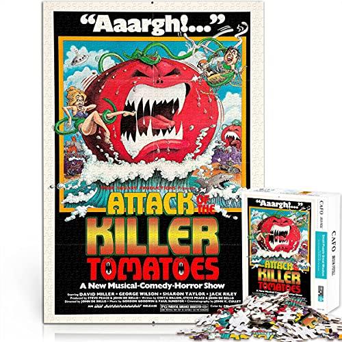 Rompecabezas para adultos Serie de carteles de películas ataque de los tomates asesinos 38x26cm papel mini 1000 piezas Rompecabezas art deco de póster de película