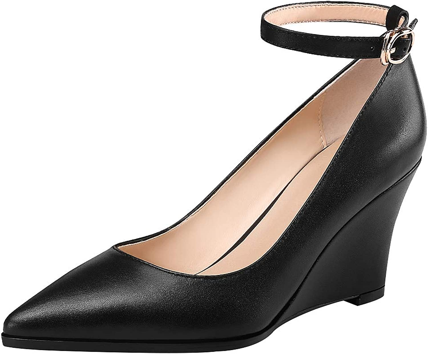 Anufer Womens Genuine Leather Pointed Toe 7.5CM Wedge Heel Ankle Strap Dress shoes Pumps