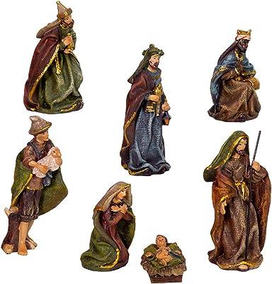 Kurt S. Adler Kurt Adler 3.5-Inch Resin, 7-Piece Nativity Set, Multi