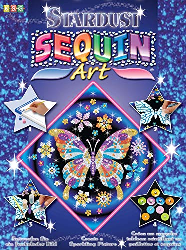 KSG 1012 Schmetterling, ca. 27 x 27 cm Art Stardust Butterfly Pin Set with Styrofoam Frame Picture Template Sequin Glitter Sand Acrylic Paint Craft Kit for Children 6 Years +, Multicoloured