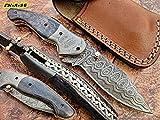 FN-A-96, Custom Handmade Damascus Steel 7.2 Inches Folding Knife - Beautiful Coloured Bone Handle with Damascus Steel Bolsters