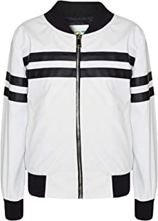 Kids Boys Girls Jacket Contrast Stripe White PU Bomber Varsity School Biker Coat