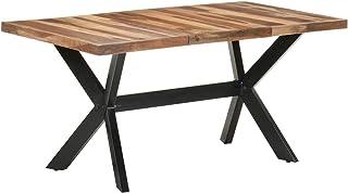 Tidyard Table de Salle à Manger, Table de Repas Meuble à Manger, Table Console Extensible 160x80x75 cm Bois Solide avec Fi...