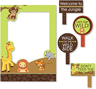 Big Dot of Happiness Funfari - Fun Safari Jungle - Birthday Party or Baby Shower Selfie Photo Booth Picture Frame & Props - Printed on Sturdy Material