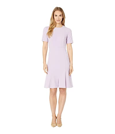 Donna Morgan Crepe Short Split Sleeve Fit and Flare Dress (Lilac) Women