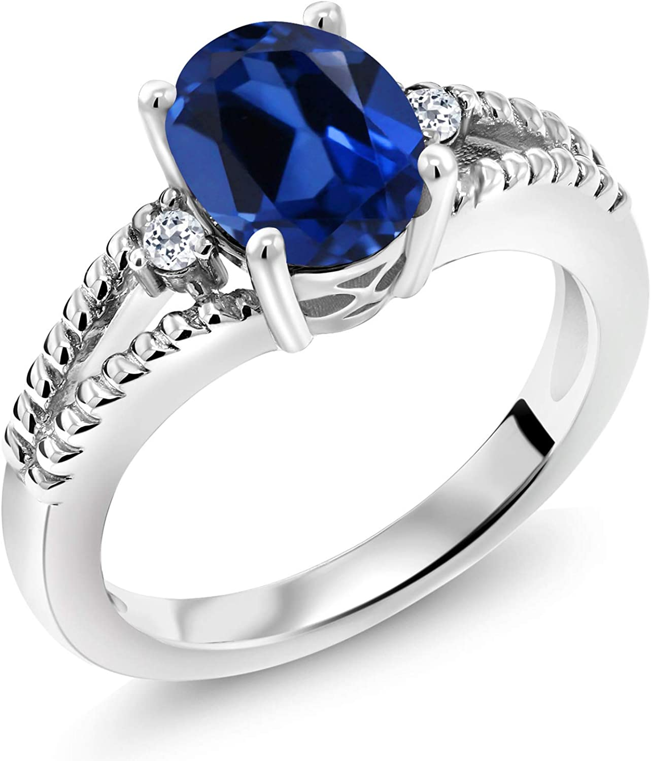 Gem Stone King 2.35 Ct Oval Topaz Created Blue White Sapphire Now on sale 92 Max 53% OFF