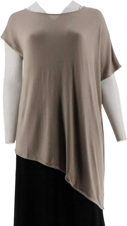 Halston Asymmetrical Pullover Sweater A276848, Coastal Grey, Medium
