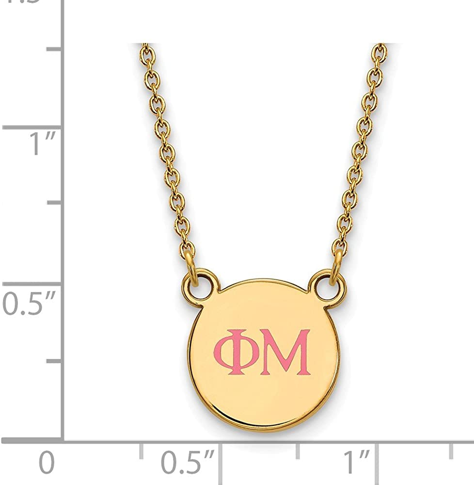 with Secure Lobster Lock Clasp 925 Sterling Silver Enamel Gold-Plated Official Phi Mu Small Enl Pend Pendant Necklace Charm Chain Width = 12mm