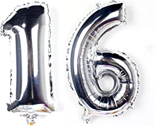 KEYYOOMY 40 inch Number 16 Balloon Silver Gaint Jumbo Foil Mylar Number Balloons for Sweet 16 Birthday Party Decorations