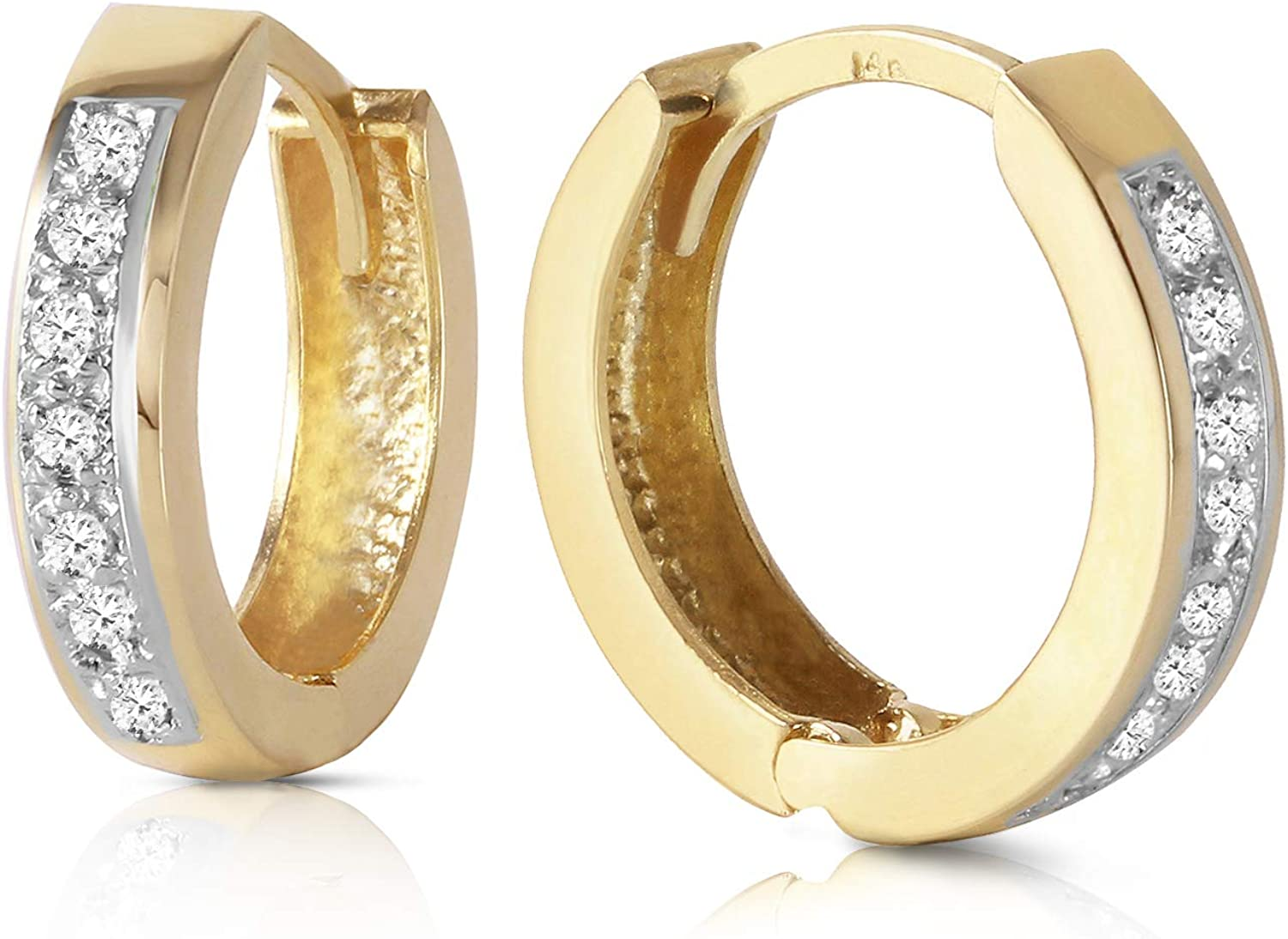Max 67% OFF Cheap mail order sales Galaxy Gold GG 14k Solid Hoop Earrings Huggie Diamonds with